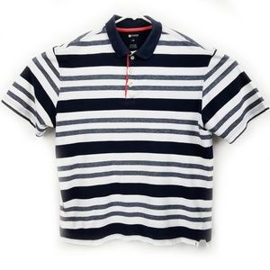 Haggar Mens Polo Shirt Short Sleeve Navy & White L